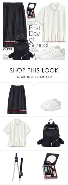 """Campus Chic: First Day of School With Zaful"" by fattie-zara ❤ liked on Polyvore featuring Lacoste, Benefit, BackToSchool, pleats, whitesneakers and zaful"