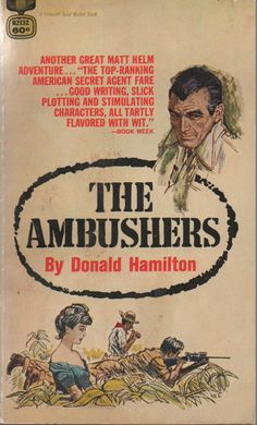 Paperback, #6 of Matt Helm Missions, The Ambushers, by Donald Hamilton, Fawcett Gold, 1963, a little wear by VintageNEJunk on Etsy