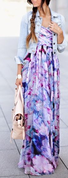 Lulu's Purple Multi Floral Off Shoulder Prom Maxi Dress