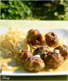 Húsgombócok mustáros krémmártásban spagettivel