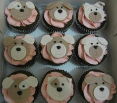 Puppy face cupcakes - how cute!