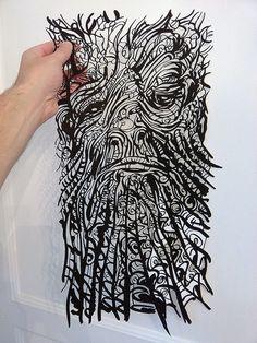 Bearded man, Papercut