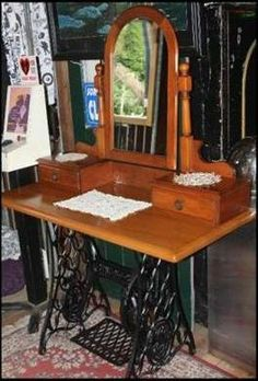 Re-purposed Treadle Sewing Machine Base with a Dresser Table top  Mirror!