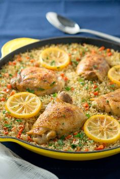 One Skillet Mediterranean Chicken and Rice is a meal the whole family will love. Garlic-seasoned chicken thighs on a bed of rice mixed with colorful veggies