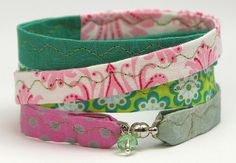 Armband Stoff Wickelarmband Boho Stoffarmband  rosa grün LeneWithLove