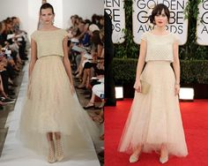 Look de Oscar de la Renta primavera-verano 2014 / Zooey Deschanel en la alfombra roja de los Golden Globes Awards