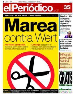 Los Titulares y Portadas de Noticias Destacadas Españolas del 24 de Octubre de 2013 del Diario El Periódico ¿Que le pareció esta Portada de este Diario Español?