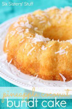 Pineapple Coconut Bundt Cake Need: 1 (15 oz) box yellow cake mix; 1 (20 oz) can crushed pineapple, undrained; 1/2 C sweetened coconut flakes. Glaze: 1/4 C orange juice; 2 C powdered sugar.