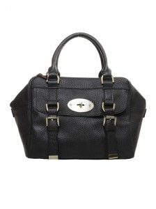Zoey Leather Top Handle Bag Black