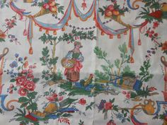 Antique Vintage French Pastoral Cotton Toile Fabric ~ Farm Life ~pink green