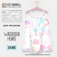 #watercolor #aquarela #painted #hearts #grunge #love #cute #stylish #girly #girldress #dress #lovable #liveheroes #liveheroesshop #littlefashionista