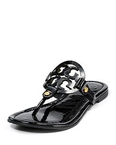 "Bought these Tory Burch ""Miller"" Sandals in Black Patent Leather last summer; love love love!  Retail--$195.00 Tory Burch Sandals, Tory Burch Flip Flops, Dress Robes, Miller Sandal, Crazy Shoes, Me Too Shoes, Shoes Sandals, Boat Shoes, Black Sandals"