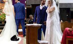 Sorte ou azar? Gato preto invade casamento e se 'aconchega' no vestido da noiva em Vitória