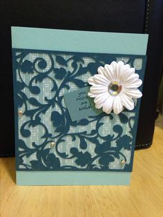 Cricut thank you card made by Jennifer Wagner (inspired by Pinterest) using Elegant Edges cartridge.