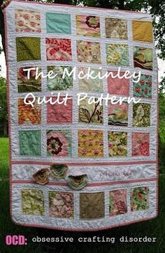 The McKinley Baby Quilt is a pretty baby #quilt #pattern that's easy enough for beginners but attractive enough to give as a gift. Separate charm squares with white sashing and add an embroidered name bar across the piecework to personalize the quilt.