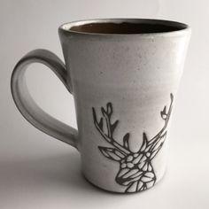 Mug , Geometric Deer by Kandace Lockwood by KandaceLockwood on Etsy. Handmade Mug with a geometric deer graphic. holds 13 oz