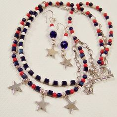 Sterling Stars with Red, White, & Blue Double Strand Necklace / from ruthsredemptions on Ruby Lane