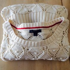 BEAUTIFUL TOMMY HILFIGER CROCHET SWEATER Cream colored crocheted sweater. Great condition. Tommy Hilfiger Sweaters Crew & Scoop Necks
