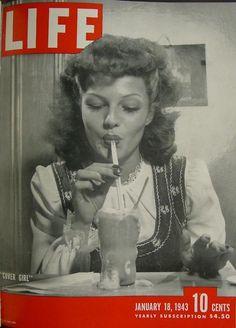 Life Magazine Copyright 1943 Rita Hayworth Cover Girl - Mad Men Art: The Vintage Advertisement Art Collection Rita Hayworth, Old Magazines, Vintage Magazines, Vintage Ads, Vintage Books, Jean Seberg, Life Magazine, History Magazine, Star Magazine