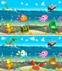 Illustration about Spot the differences. Two images with eight changes between them, vector and cartoon illustrations. Illustration of find, mascot, gold - 55806771 Find The Difference Pictures, Spot The Difference Puzzle, Hidden Pictures, Picture Puzzles, Kids Learning Activities, Thinking Skills, Worksheets For Kids, Games For Kids, Cartoon Characters