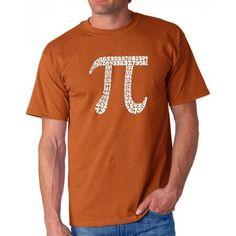 Los Angeles Pop Art Men's T-shirt - The First 100 Digits of PI, Size: Large, Orange