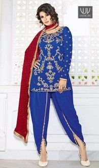 Flattering Blue Color Stone Work Punjabi Suit Genuine attractiveness comes out from your dressing style with this blue pure crepe punjabi suit. The enticing stone work throughout the dress is awe inspiring. This product consists of semistitched top, bottom and dupatta fabric. This can be stitched using the custom tailoring options below. To buy semi-stitched fabric, just choose the semi-stitched option