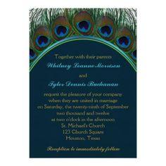 b7f51d00b9cac7 Teal, Gold Peacock Feathers Wedding Invitation Peacock Wedding Invitations,  Wedding Invitation Design, Wedding