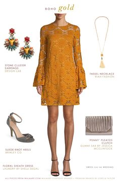 c0600fd8482 Casual fall or winter wedding guest outfit - Boho style gold lace shift  dress and accessories