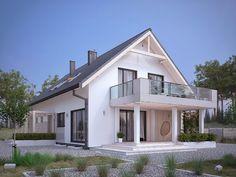 Projekt domu MT Amarylis 4 paliwo stałe CE - DOM - gotowy koszt budowy Self Build Houses, Terrace Design, House Extensions, Pool Houses, Home Fashion, My House, Building A House, House Plans, New Homes