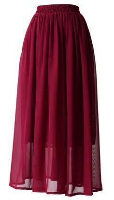 Wine Red Pleated Chiffon Maxi Skirt