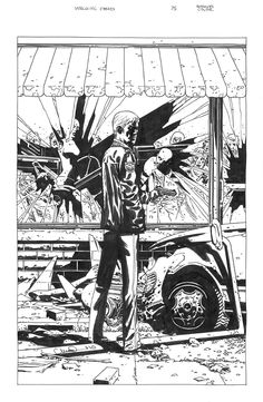 Charlie Adlard - Walking Dead 75 alternate cover original comic art.      This is Adlard's homage to Tony Moore's issue #1 cover.