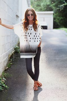 Geo/Tribal minimalist tunic with jeggings & sandals. Spring/Summer look?