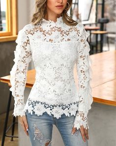 Affordable Women S Fashion Clothing Trend Fashion, Fashion Outfits, Womens Fashion, Stylish Dresses For Girls, How To Wear Scarves, Lace Tops, Lace Blouses, Blouse Styles, Pattern Fashion