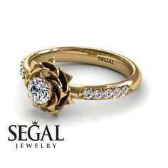 Unique Rose Engagement Ring Diamond ring Rose Ring by SegalJewelry