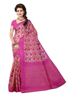 6a4a04f354 Designer Pink Color Banarasi Art Silk Partywear With Golden Color Design  Pattern. Cotton Sarees Online ...