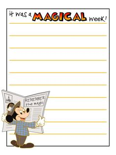 Journal Card - It was a magical week! - Mickey Mouse with newspaper - lines - Photo: A little journal card to brighten up your holiday scrapb. Mickey Mouse Classroom, Disney Classroom, Disney Fonts, Disney Printables, Walt Disney World Vacations, Disney Trips, Scrapbook Journal, Journal Cards, Mickey Font