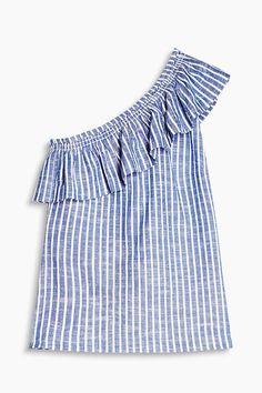 Grösseninfo:  Bei Gr. 36 (kann je Gr. variieren): -Länge der Seitennaht: ca. 42 cm  Details:  -Fashion Piece: Mit dieser antaillierten Bluse aus luftigem Baumwoll-Gewebe zeigst du nur eine nackte Schulter, während auf der anderen Seite ein bequemer, breiter Träger für den nötigen Halt und den asymmetrischen Look sorgt! -Ein breiter, am elastischen Ausschnitt angesetzter Volant betont die raffinierte Optik und sorgt für das verspielte Flair. -Das sportive Streifen-Dessin kommt auf dem…