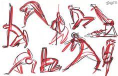 Inicialmente, tanto o cartoon quanto a caricatura nascem do exercício do exagero, em especial da atenção superestimada das expressões - sejam faciais ou corporais. Esta imagem representa o estudo de movimento, de forma marcante e evidente. É preciso ter clareza de movimento para se caracterizar o traço cartoon, pois sua objetividade é, basicamente, a comunicação. Mais detalhes em www.darlion.com.br