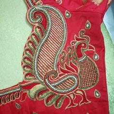 No photo description available. Peacock Blouse Designs, Peacock Embroidery Designs, Blouse Designs High Neck, Cutwork Blouse Designs, Wedding Saree Blouse Designs, Simple Blouse Designs, Stylish Blouse Design, Peacock Design, Hand Work Embroidery