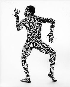 body paintings with keith haring and bill t jones, 1983