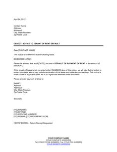 How to write letter of consent with downloadable sample for Notice of default letter template