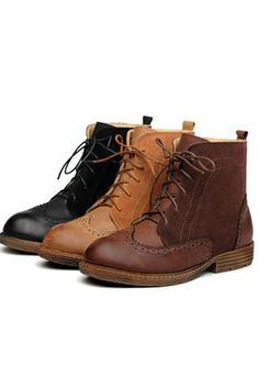 Women Shoes British Style Lace Up Vintage Martin Ankle Boot