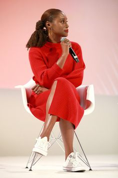 Issa Rae speaks on stage at the Teen Vogue Summit 2019 at Goya Studios on November 2019 in Los Angeles, California Black Girl Fashion, Look Fashion, Style Outfits, Fashion Outfits, Afro, Issa Rae, Black Girl Aesthetic, My Black Is Beautiful, Lookbook