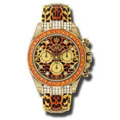 Rolex Daytona Cosmograph Yellow Gold Leopard Diamond Dial Strap Watch 116598