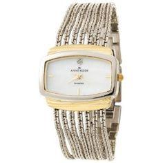 Anne Klein Women's 108401MPTT Diamond Accented Two-Tone Chain Bracelet Watch (Watch)