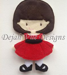 Lilly felt doll with outfit. Dress is available in several colors. Available at https://www.etsy.com/shop/SchoolhouseBoutique