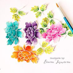 watercolors with white embossed stamped images
