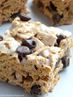 Golden Grahams and chocolate chips instead of Rice Krispies to make s'mores treats!