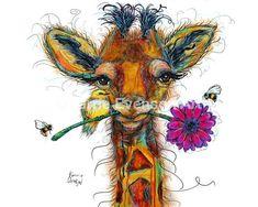 Giclee Reproduction of original painting printed on fine art paper Giraffe Painting, Giraffe Art, Elephant Art, Painting Prints, Art Prints, Highland Cow Painting, Hedgehog Art, Cow Art, Original Gifts