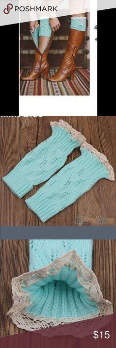 Aqua blue Boot cuffs with ruffle top, NWOT Aqua blue color boot cuffs with tan ruffle top NWOT.     #14 Accessories Hosiery & Socks